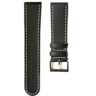 Black Leather 22mm Strap with Cream Stitching (Fits 41mm Face / 22mm Lug)
