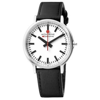 Stop2Go Backlight Black Leather Watch