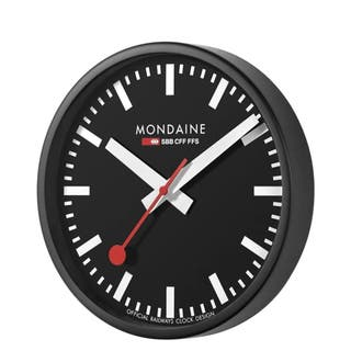Wall Clock - Black / Red / Steel & White